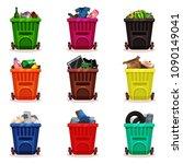 flat vector set of plastic...   Shutterstock .eps vector #1090149041