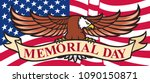 memorial day poster with usa...   Shutterstock .eps vector #1090150871