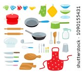 cartoon kitchen tools set... | Shutterstock .eps vector #1090155431