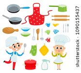cartoon kitchen tools set and... | Shutterstock .eps vector #1090155437