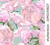 shabby chic vintage peony... | Shutterstock . vector #1090155827