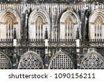 Small photo of BATALHA, PORTUGAL - APRIL 13, 2018: Details of the facade of the 14th century Batalha Monastery in Batalha, Portugal, a prime example of Portuguese Gothic architecture, UNESCO World Heritage site.