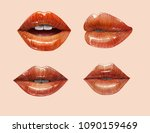 sensual juicy lips collection....   Shutterstock .eps vector #1090159469