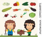 set of isolated vegetables ... | Shutterstock .eps vector #1090166891