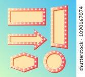shining retro light banners set ... | Shutterstock .eps vector #1090167074