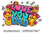 love you dad message in sound... | Shutterstock .eps vector #1090167467