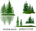 illustration with fir trees set ... | Shutterstock .eps vector #1090171739