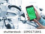 man hand holding smartphone ... | Shutterstock . vector #1090171841