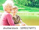 cute grandmother and grandson... | Shutterstock . vector #1090176971