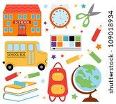 colorful school set   Shutterstock .eps vector #109018934