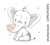 Stock vector vector illustration of a cute baby elephant holding a heart in his trunk 1090192691