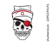 human skull with nurse hat and... | Shutterstock .eps vector #1090194191