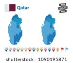 qatar   high detailed map with... | Shutterstock .eps vector #1090195871