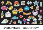 cute colorful modern patch set. ... | Shutterstock .eps vector #1090198094