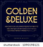 gold metallic font set. letters ... | Shutterstock .eps vector #1090198121