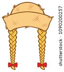 woman straw hat with hair... | Shutterstock .eps vector #1090200257