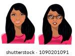 girl in glasses  brunette ... | Shutterstock .eps vector #1090201091