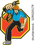 illustration of an electrician... | Shutterstock . vector #109020179