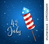 text 4th of july and firework... | Shutterstock .eps vector #1090206644