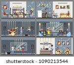 sound recording studio interior ... | Shutterstock .eps vector #1090213544