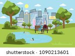 public park in the city with... | Shutterstock .eps vector #1090213601