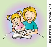 mom reading a book to her kid   Shutterstock .eps vector #1090214375