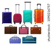set of suitcases. luggage in...   Shutterstock .eps vector #1090216757