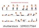 fitness exercises set. woman... | Shutterstock .eps vector #1090217564
