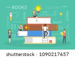 people on books. concept of... | Shutterstock .eps vector #1090217657