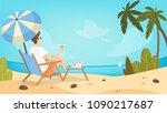 man on the beach relaxing on... | Shutterstock .eps vector #1090217687
