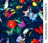 floral vintage seamless... | Shutterstock .eps vector #1090224674