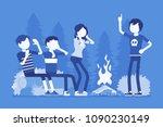 spooky story near campfire fun. ... | Shutterstock .eps vector #1090230149