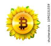 bitcoin flower concept of...   Shutterstock .eps vector #1090231559