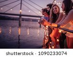 group of friends relaxing on a... | Shutterstock . vector #1090233074