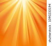yellow sun rays with orange...   Shutterstock .eps vector #1090233194