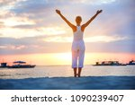 a woman is doing yoga exercises ... | Shutterstock . vector #1090239407