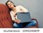 happy young woman at home... | Shutterstock . vector #1090240859