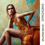 beautiful tall young blond... | Shutterstock . vector #1090242845