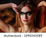 beautiful tall young blond... | Shutterstock . vector #1090243589