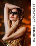 beautiful tall young blond... | Shutterstock . vector #1090243595