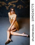 beautiful tall young blond... | Shutterstock . vector #1090243775