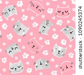 cute cat vector pattern with... | Shutterstock .eps vector #1090245374