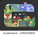 simple things   forest set on a ... | Shutterstock .eps vector #1090245854
