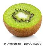 Half Ripe Kiwi Fruit Isolated...