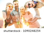 happy millennial friends group... | Shutterstock . vector #1090248254