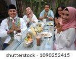 group happy young muslim... | Shutterstock . vector #1090252415