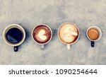 aerial view of various coffee   Shutterstock . vector #1090254644