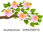 branch of a tree with flowers... | Shutterstock .eps vector #1090258574