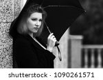 sad young fashion woman with... | Shutterstock . vector #1090261571