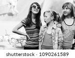 group of happy teen girls in... | Shutterstock . vector #1090261589